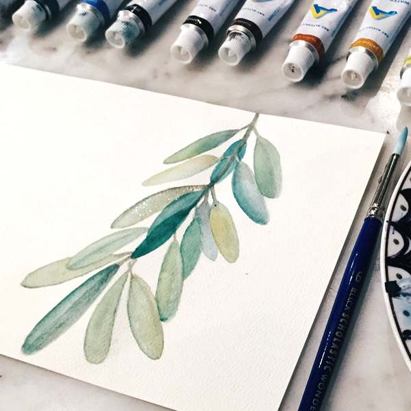 Watercolor Olive Branch / www.moderncraftcollective.com