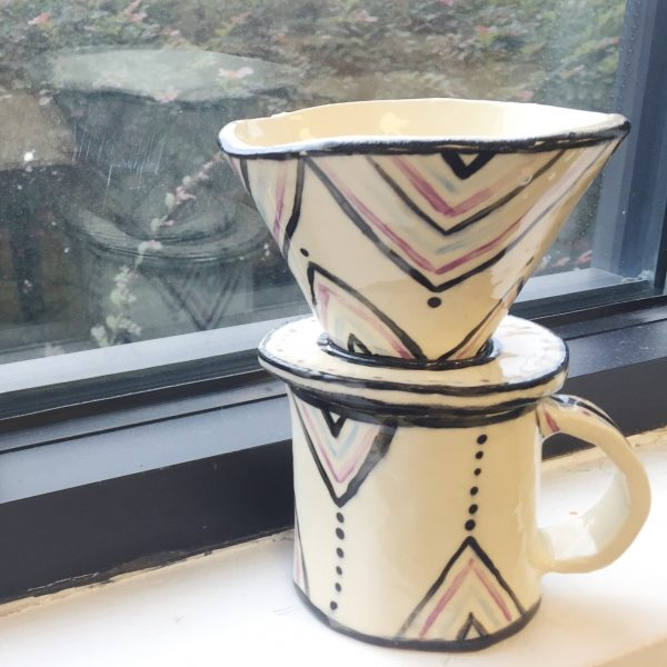 Ceramic Art Pour Over Coffee Mug from Modern Craft Collective