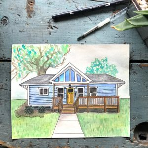 Watercolor House Portrait // Modern Craft Collective